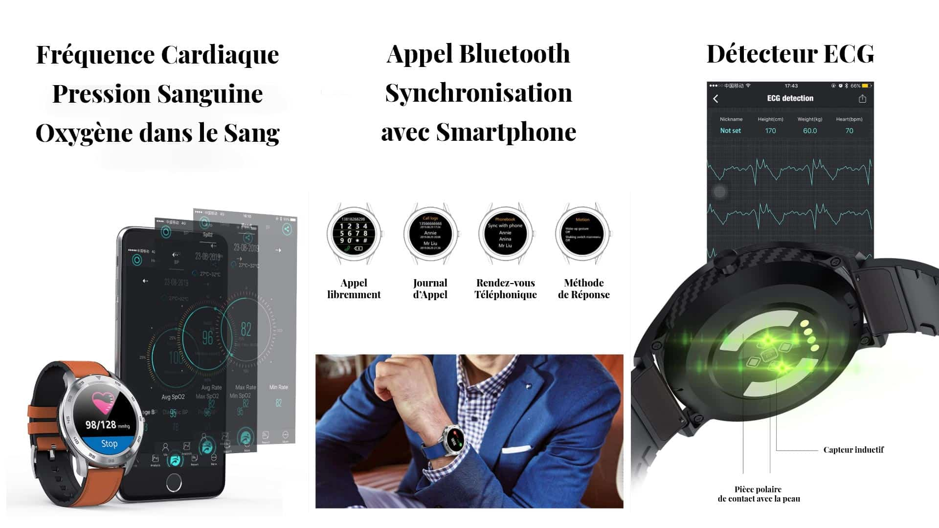 Montres connectées capteurs fréquence cardiaque appel Bluetooth détecteur EGC